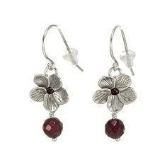 Israeli Jewelry Silver Flower Earrings with Garnet