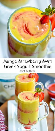 Healthy and packed with probiotics a Greek Yogurt Mango Smoothie for breakfast | chefdehome.com