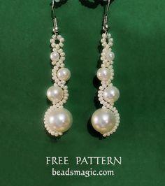 Free pattern for earrings White Moon   Beads Magic