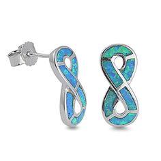 Genuine Sterling Silver Blue Opal Infinity Eternity Fashion Dangle Earrings | eBay