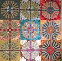 Snapshot of my 30 block wagon wheel quilt