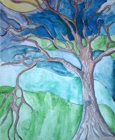 Art Lesson: Emily Carr Watercolor Trees, watercolour, wax crayon resist, sharpie