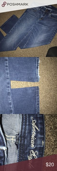 American eagle jeans! Size 8 American eagle size 8 jeans! Boot cut! When wearing my cowboy boots, the right leg back bottom is scuffed very lightly! American Eagle Outfitters Jeans Boot Cut