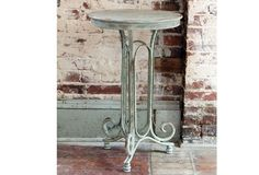 Wrought Iron Side Table - From Antiquefarmhouse.com - http://www.antiquefarmhouse.com/current-sale-events/metal-5/wrought-iron-side-table.html