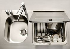 In-sink hidden dishwasher by Kitchen Aid...