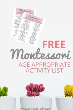 Montessori age-appropriate activity list for toddlers.