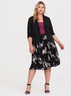 5e66bb3327 Black Floral Chiffon Midi Skirt - Pretty florals paint an ethereal chiffon  midi skirt that gently