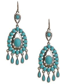 Lucky Brand Earrings, Turquoise Epoxy Chandelier Earrings - Fashion Jewelry - Jewelry & Watches - Macy's