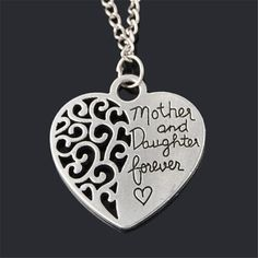 Heart Necklace Women Silver Plated Jewelry Hollow Out Plant Letter Necklaces Pendants Mother's Day Birthday Gifts