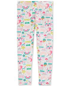 Bring smile-inducing style to her casual basics with the colorful unicorns, cupcakes, castles and other fun graphics printed on these stretchy leggings from Carter's. Baby Girl Pants, Baby Girl Shoes, Cute Baby Girl, Floral Leggings, Printed Leggings, Toddler Outfits, Kids Outfits, Unicorn Leggings, Baby Necessities