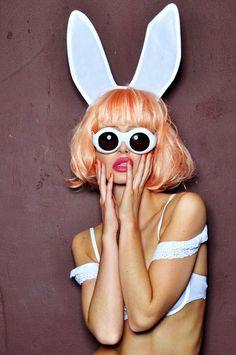 Pin-up bunny glasses Bunny Suit, Honey Bunny, Playboy Bunny, Rabbit Ears, Doll Parts, Doll Head, Pulp Fiction, Pin Up, Fashion Photography