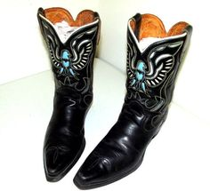 Rockabilly Black Leather Western Boots with turquoise & white thunderbird 11.5 D #Acme #CowboyWestern