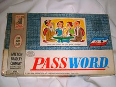 1962 Milton Bradley board game home version of PASSWORD. $8.00, via Etsy.