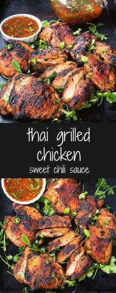 chicken with sweet chili sauce Thai grilled chicken with sweet chili sauce is a delicious way to mix up your summer grilling.Thai grilled chicken with sweet chili sauce is a delicious way to mix up your summer grilling. Thai Grilled Chicken, Grilled Chicken Breast Recipes, Chicken Marinade Recipes, Grilled Meat, Grilling Chicken, Chicken Chili, Barbecue Recipes, Vegetarian Grilling, Thai Bbq Chicken Recipe