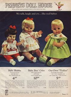 1966 AD for Deluxe Reading Tickles, 17-18 inch Uneeda Blabby doll and Topper Baby Boo Crying Doll Z