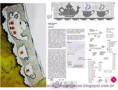 MIRIA CROCHÊS E PINTURAS: BARRADOS DE CROCHÊ COM OBJETOS... What a great edging for tea towels!!