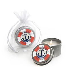 Anna.  I wish I would have seen these before I ordered the other one.  :(  >>>Ahoy - Nautical - Personalized Baby Shower Candle Tin Favors | BigDotOfHappiness.com