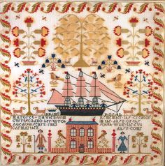 Welsh Folk Art Samplers: Ships on Welsh Samplers Embroidery Sampler, Cross Stitch Embroidery, Embroidery Patterns, Cross Stitch Patterns, Cross Stitch Samplers, Satin Stitch, Wool Applique, Making Ideas, Needlepoint