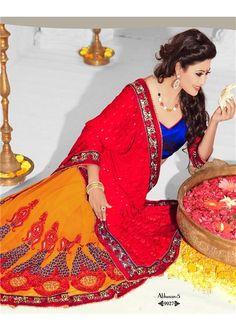 Abhushan 5  http://rekhamaniyar.in/Product/Red-Orange-Designer-Saree-228
