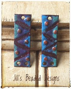 Enameled Copper Charms Blue Purple Green Rectangle Enamels