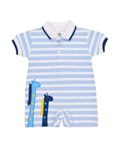 05e290577f22 Florence Eiseman - Boys Blue Stripe Knit Romper with Giraffe Appliques  Knitted Romper