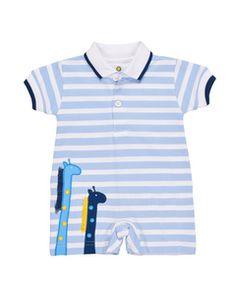 65cc288d23760 Florence Eiseman - Boys Blue Stripe Knit Romper with Giraffe Appliques  Knitted Romper, Boy Blue