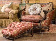Carol Hicks Bolton Bovary chair and ottoman