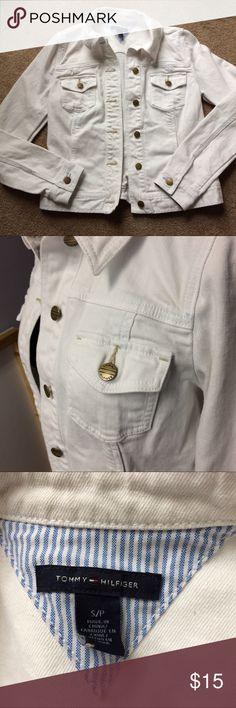 Tommy Hilfiger white denim jacket Tommy Hilfiger white denim jacket. Buttons up with collar. Tommy imprinted buttons. Size small Tommy Hilfiger Jackets & Coats Jean Jackets