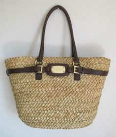 18a9b4c53c8 New Authentic Michael Kors Tote Handbag Purse Brown Straw Corn Husk  Hamilton NWT  MichaelKors