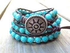 Western Turquoise Beaded Leather Wrap Bracelet