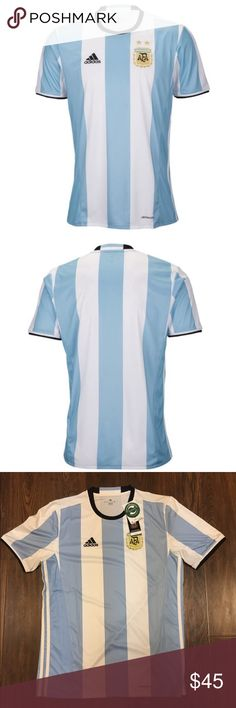 Adidas 2016 Argentina Home Soccer Jersey Medium Argentina finished as runners-up in an exciting 2015 Copa America. For the 100th edition of this, the oldest continental tournament, the Albiceleste will look to bring home the trophy for the first time since 1993.  adidas stripes run down the sides.  The federation badge is embroidered, while a smaller embossed version is on the right sleeve.  ClimaCool technology provides moisture control.  100% Polyester.  Replica Or Authentic: Replica…