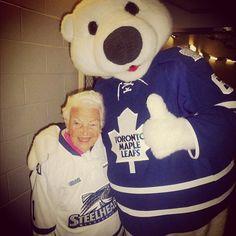 Carlton The Bear & Mississauga Mayor Hazel McCallion - Hazel rocks ! True North, Toronto Maple Leafs, Aging Gracefully, Nhl, Ontario, Hockey, Politics, Canada, Strong