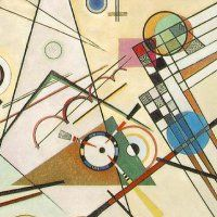 Wassily Kandinsky  Russian  (1866-1944)	Composition 8	Kandinsky was the founder of abstract art -- art that uses symbols and designs rather than real people or things.