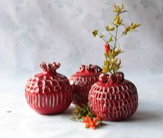 Check out this item in my Etsy shop https://www.etsy.com/il-en/listing/523663701/set-3-ceramic-pomegranates-judaica-rosh