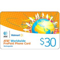 AT $30 Worldwide Rechargeable PrePaid Phone Card