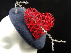 Valentines Day Fascinator Hat blue and red by SpiritofHarlequin