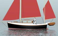 Bear Bay 23' Lapstrake plywood trailerable motorsailer~ Small Boat Designs by Tad Roberts