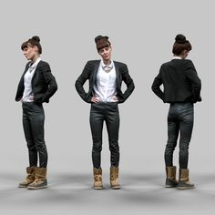 90db93b4acc4 Girl in Leather Pants Model available on Turbo Squid