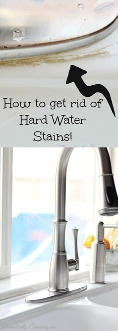 Hard water stains!  I've got an easy DIY solution to help you remove those hard water stains.