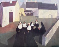 Les Ursulines - Jean Paul Lemieux.. i did this in art class as a reproduction...luv this