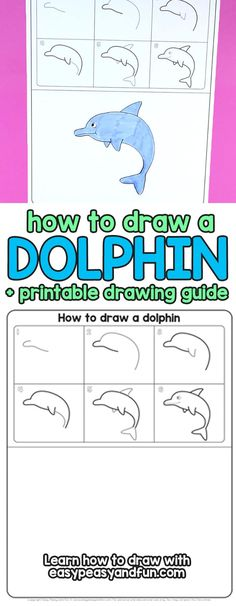 Learn How to Draw a Dolphin in Jumping out of Water Pose - Step by Step Tutorial for Kids