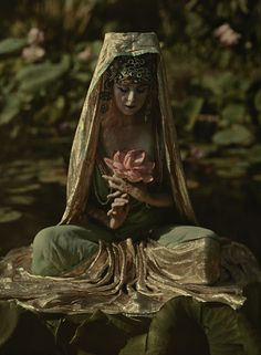 "natgeofound: "" Woman adorned like a Chinese goddess poses in a garden in California, 1915. Photograph by Franklin Price Knott, National Geographic Creative """