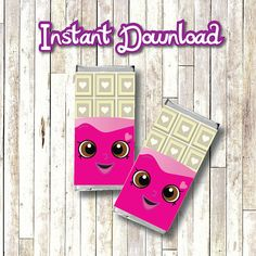 Shopkins Party Candy Bar Wrapper INSTANT DOWNLOAD printable