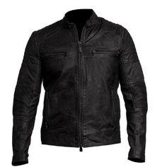 Men's Biker Vintage Style Cafe Racer Black Leather Jacket at Amazon Men's Clothing store: