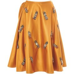 Rochas Duchesse Skirt With Glove Embellishment ($3,720) ❤ liked on Polyvore featuring skirts, yellow high waisted skirt, yellow pleated skirt, embellished skirt, high rise skirts and high waisted skirts