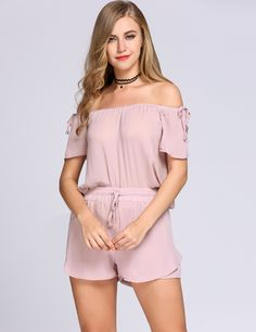 Off the Shoulder Solid Top and Drawstring Shorts Set
