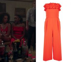 c300df482077 2x05 Melody Valentine (Asha Bromfield) wears this ruffle strapless jumpsuit  in this episode of