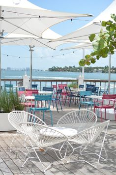 Colorful Chairs + Hanging Lights | The Standard Hotel Miami