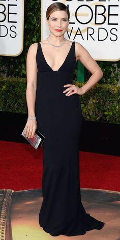 2016 Golden Globes Red Carpet Arrivals - Sophia Bush in Narciso Rodriguez, Martin Katz jewelry, Sophie Webster heels.