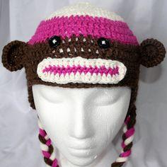 Children's Sock Monkey Hat by TheShantiKnits on Etsy
